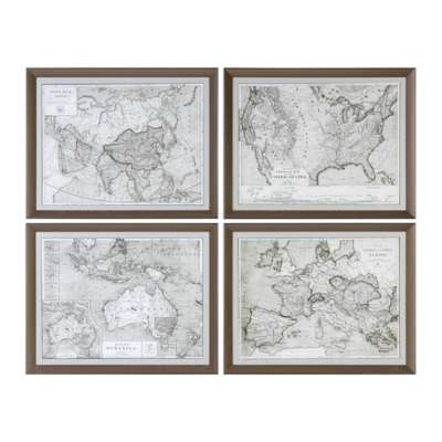 Picture for World Maps Wall Art, Set of 4 by Uttermost