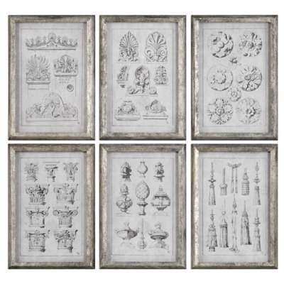 Picture for Architectural Accents Wall Art, Set of 6 by Uttermost