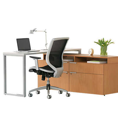 Picture of Voi L-Shaped Desk with Layering Shelf by HON