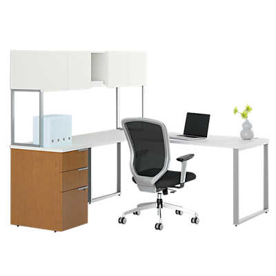 Picture of Voi L-Shaped Desk with Upper Storage by HON