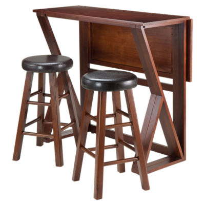 "Picture of Krauss 3-Piece Drop Leaf High Table with 24"" Round Seat Stools"
