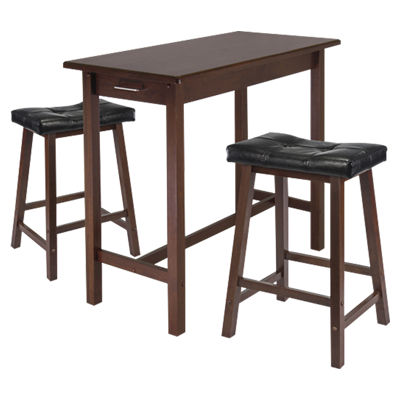 Picture of Parker 3-Piece Kitchen Island Table with 2 Cushioned Saddle Seat Stools