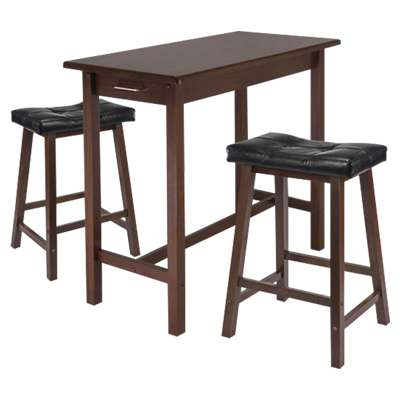 Picture for Parker 3-Piece Kitchen Island Table with 2 Cushioned Saddle Seat Stools