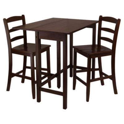 Picture of Wyatt 3-Piece Drop Leaf High Table with 2 Counter Ladder Back Stools