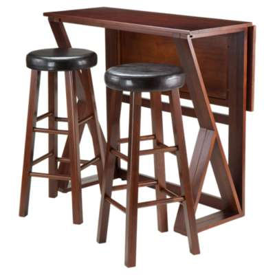 "Picture for Krauss 3-Piece Drop Leaf High Table with 29"" Cushion Round Seat Stools"