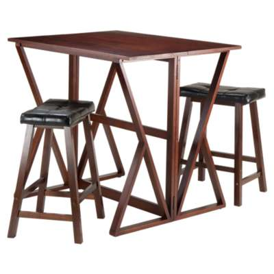 "Picture for Krauss 3-Piece Drop Leaf High Table with 24"" Cushion Saddle Seat Stools"