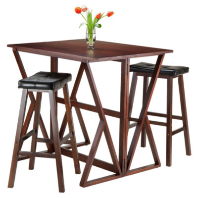 "Picture of Krauss 3-Piece Drop Leaf High Table and 29"" Cushioned Saddle Seat Stools"