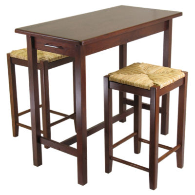 Picture of Johan 3-Piece Kitchen Island Table with 2 Rush Seat Stools