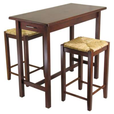 Picture for Johan 3-Piece Kitchen Island Table with 2 Rush Seat Stools