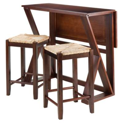 "Picture for Krauss 3-Piece Drop Leaf High Table and 24"" Rush Seat Stools"