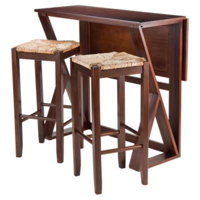 "Picture of Krauss 3-Piece Drop Leaf High Table and 29"" Rush Seat Stools"