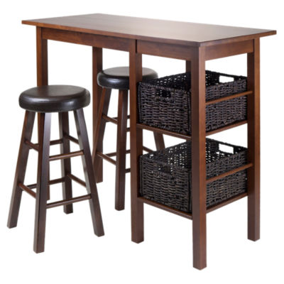 "Picture of Carrie 5-Piece Table with 24"" Round Cushion Stools and Baskets"