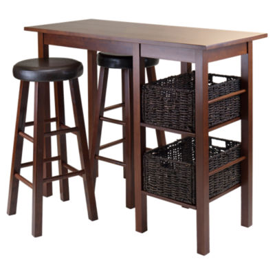 Picture of Carrie 5-Piece Breakfast Table with 2 Baskets and 2 Swivel Seat Stools