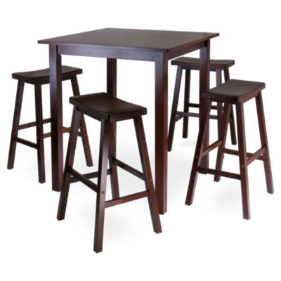 Picture of Daniels 5-Piece Square Pub Table Set with Saddle Seat Stools
