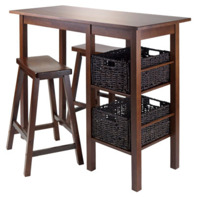 "Picture of Carrie 5-Piece Table with 24"" Saddle Seat Stools and Baskets"