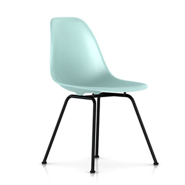 dsx47ZFE8: Customized Item of Eames Molded Plastic Side Chair with 4 Leg Base by Herman Miller (dsx)