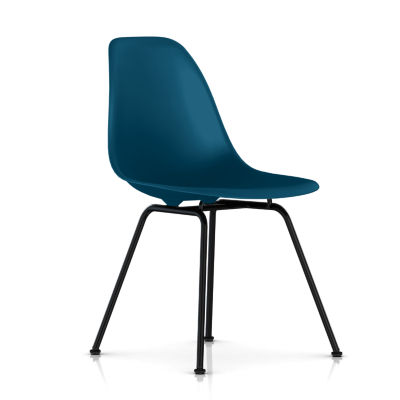 dsx47PBLE8: Customized Item of Eames Molded Plastic Side Chair with 4 Leg Base by Herman Miller (dsx)