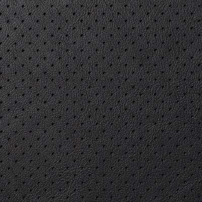 Perforated Black Royal Leather for Eames Aluminum Lounge Chair with Headrest by Herman Miller (EA322)